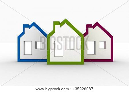 Models houses symbol. 3D rendering