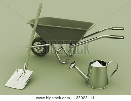 Garden tools. Garden wheelbarrow, watering can and a shovel. 3D rendering.