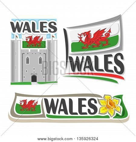 Vector logo for Wales, consisting of 3 isolated illustrations: Caerphilly castle east gatehouse on background of national state flag, symbol of Wales and welsh flag beside yellow daffodil close-up