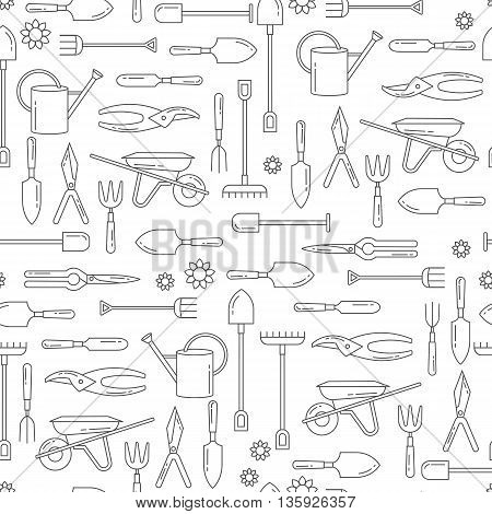 Vector seamless pattern with garden tools. Web site background with gardening tools.