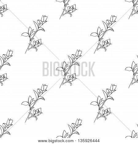 Vector seamless pattern with ink hand drawn herbs. Botanical background. Fabric pattern