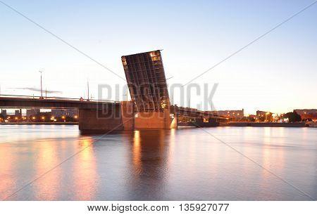 Volodarsky bridge before sunset in Saint Petersburg Russia.