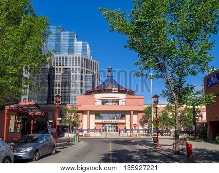 CALGARY, CANADA - JUNE 5: Calgary skyline close to Chinatown on June 5, 2016 in Calgary, Alberta Canada. Calgary's Chinatown sits between the downtown and the Bow River.