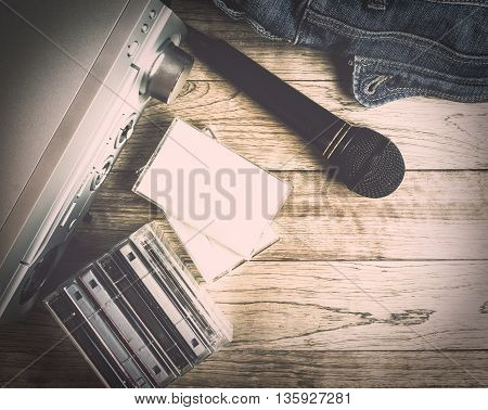 Set Of Audio Device On Wooden Background