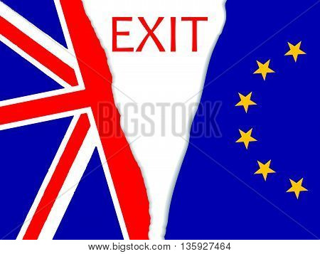 Brexit vector illustration.brexit torn flag.Brexit vector illustration.European Union and England torn flags.Brexit cracks. United Kingdom exit from europe vector.Brexit concept. British flag. EU flag.