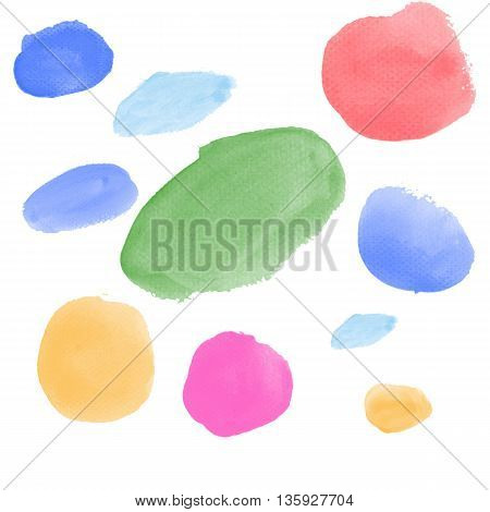 Colorful Realistic Water color brushes abstract for use in background or customize brush isolated on white background