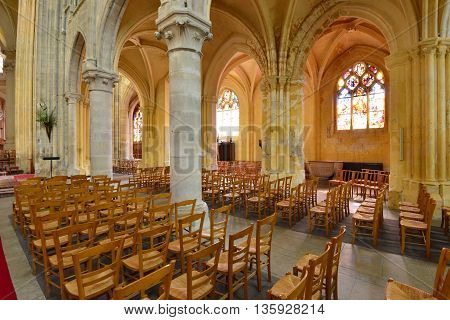 Triel sur Seine France - march 1 2016 : the gothic and renaissance Saint Martin church
