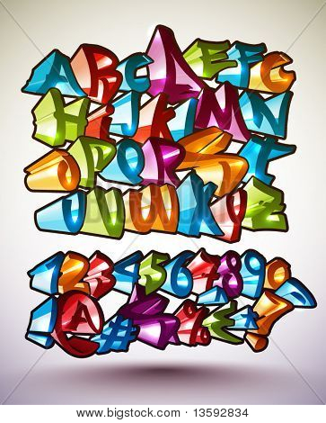 Set of Vector Graffiti Alphabets