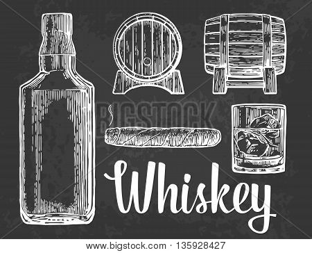 Whiskey glass with ice cubes barrel bottle cigar. Vector vintage illustration. dark background.