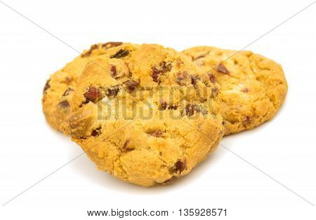 biscuit, cookies with chocolate isolated on white