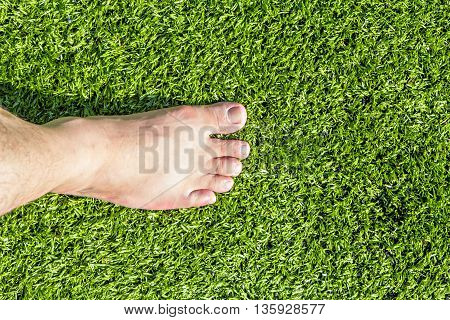 Barefoot standing on artificial turf, top view