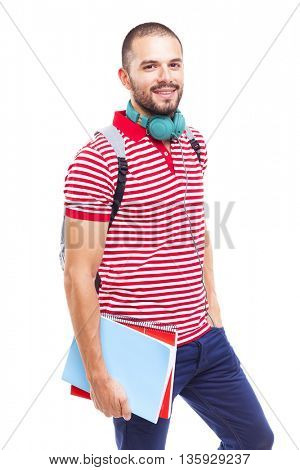 Portrait of a male student smiling, isolated on white background