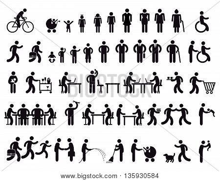 people Pictogram, grandparents, children, grandchildren, child, mother, son, man, father, baby, grandmother, grandfather,