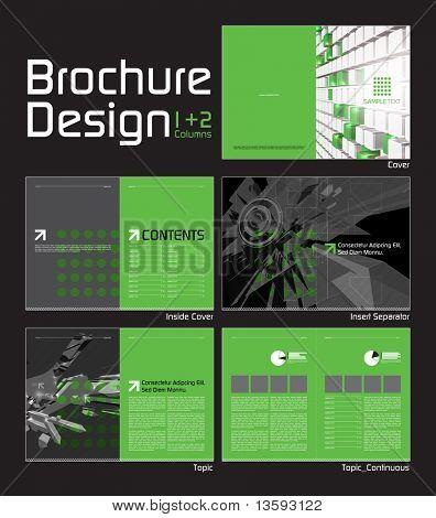 Modelo de projeto de Layout de folheto com 10 páginas Visualizar (5 páginas espelhadas).