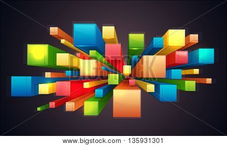 3D colorful abstract elements decorated creative background.