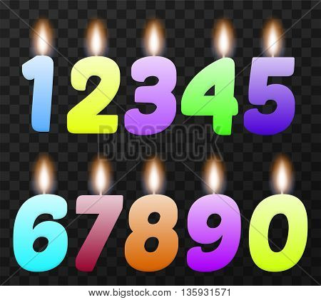 Set of colorful birthday candles. Isolated, vector, eps 10