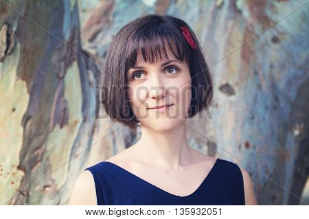 Beautiful Model Woman with Bob Hairstyle and Bang