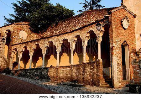 Udine Italy - June 11 2005: Lippomano Renaissance Venetian-gothic arcade in the Piazza della Liberta