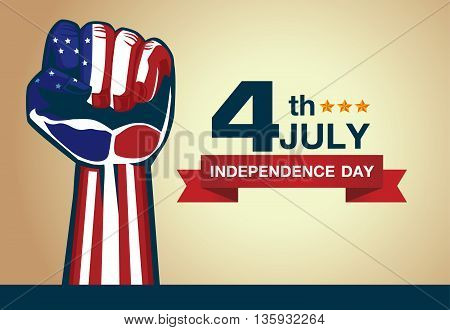 American flag fist with logo 4 July independence day. Illustration about American holiday.
