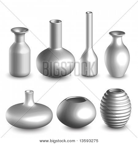 3D Vases Isolated on White.