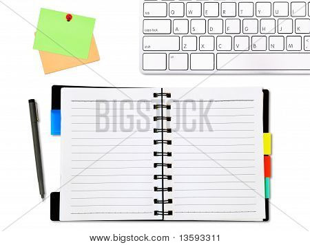 open notepad and colored memo with keyboard