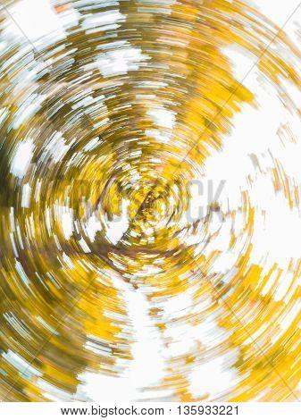 abstract circular rotation of yellow leaf tree