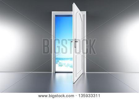 An open door to the Beach. 3d illustration.
