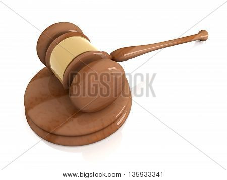 3D rendered Illustration. An Auction or Court Hammer.