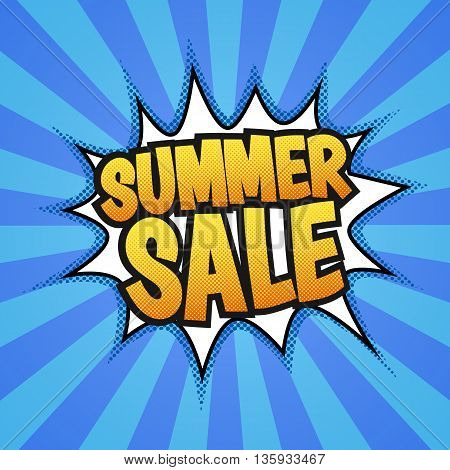 Summer sale poster. Pop art, comics style. Vector eps 10
