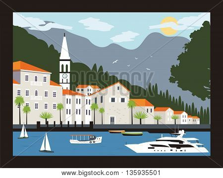 Perast city in Kotor bay with mountains and boat floating in Montenegro.