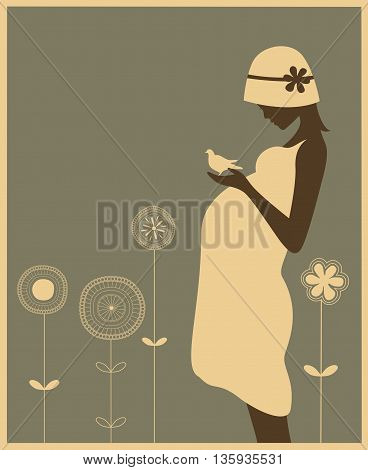 Silhouette of pregnant woman on floral background.