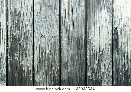Closeup of cracky painted wooden wall surface