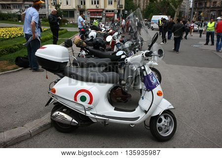 BELGRADE SERBIA-JUN 11, 2011-Many models of  Vespa in front of Belgrade city Hall at traditional manifestation, Vespa meeting