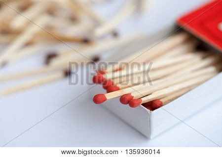 A Wooden match in the box on the white