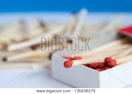 Wooden match in the box with partial focus.