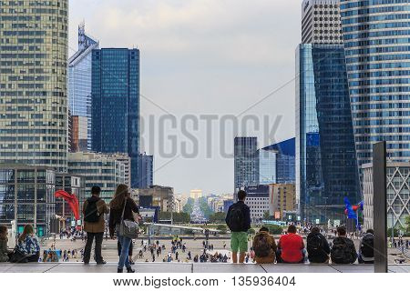 PARIS, FRANCE - MAY 15, 2015: Great Arch of La Defense is part the so-called historical axis extending through the Champs Elysees and the Triumphal Arch.