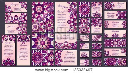 Business Card Collection. Vintage Mandala Decorative Elements. Hand Drawn Background.