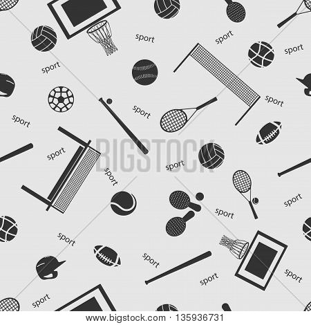 Vector illustration sport on the background seamless pattern. Set of elements
