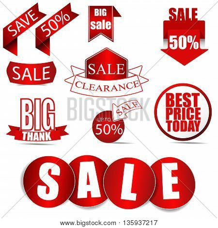 Vector Sale Tags ,Red Labels. Vector /Illuatration