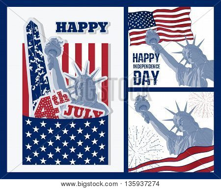Set of Festive art design elements for fourth of July Independence Day USA with symbols of America: Statue of Liberty with american flag. Patriotic series, main celebration of USA. Artistic painting