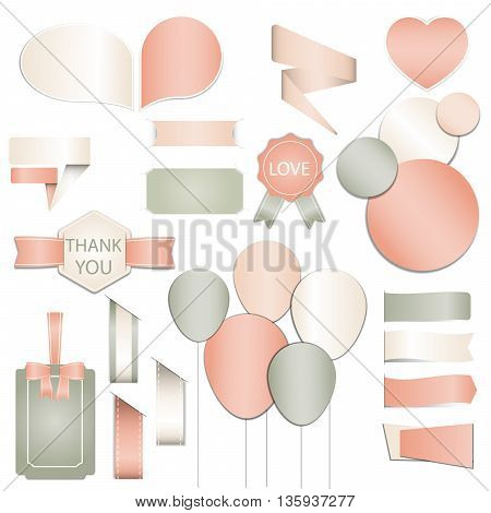 Collection of Valentines day gift tags, stickers and labels templates and modern lovely holidays elements with romantic phrase in vector. Valentine's day, wedding, marriage, save the date, bridal