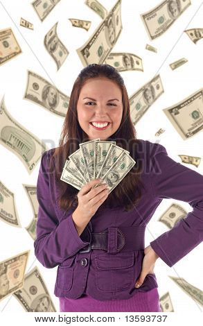 Happy businesswoman on dollars background