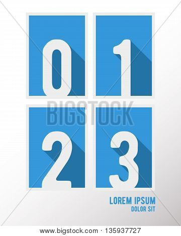 Alphabet font template. Set of numbers 0 1 2 3 logo or icon. Vector illustration.