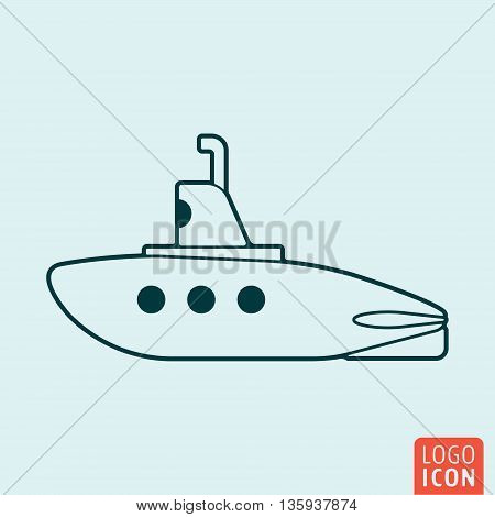 Submarine icon isolated. Outline submarine with periscope symbol. Vector illustration