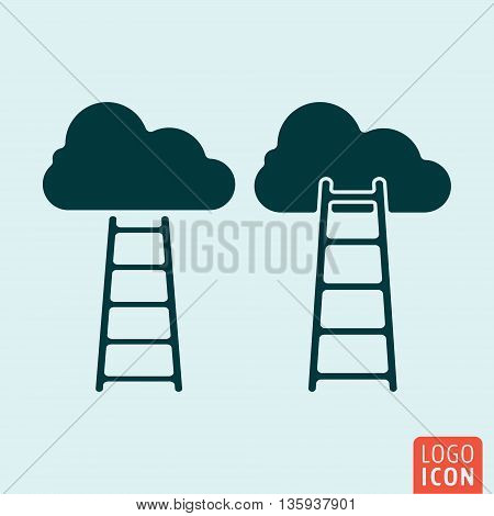 Ladder to clouds icon isolated. Career symbol. Vector illustration