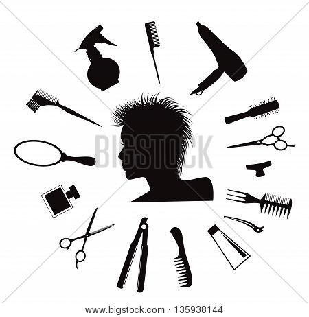 Woman silhouette with Hairdressing equipment icons isolated on white