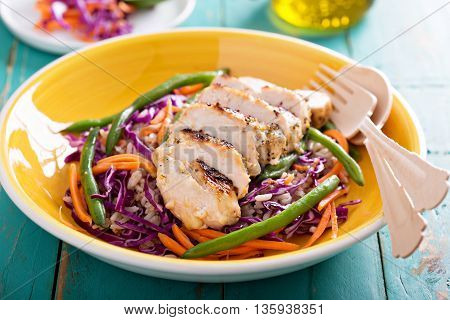 Grilled chicken cole slaw salad with green beans