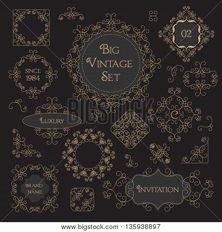Vintage Decorations Design Elements Border, Frame, Corner Set