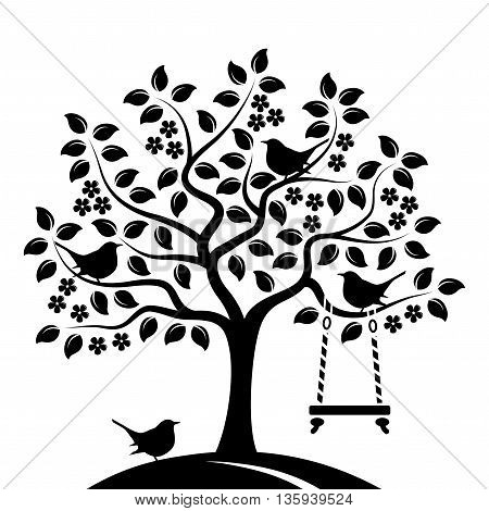 vector flowering tree with swing and birds isolated on white background