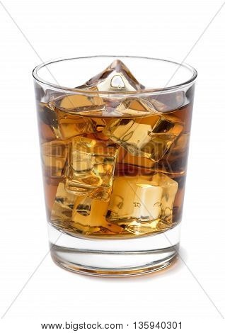Whiskey on the Rocks on White Background